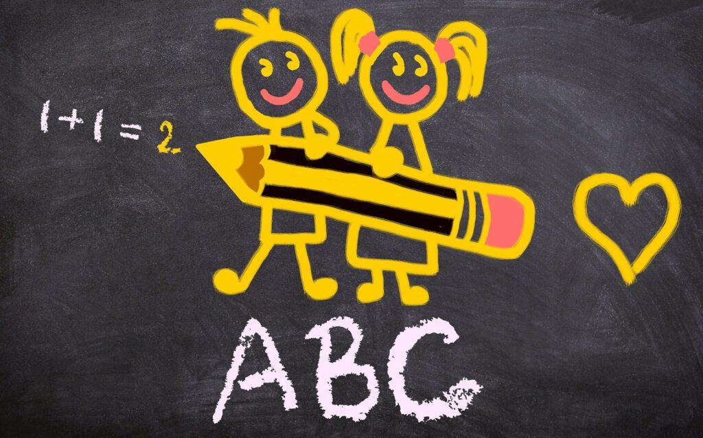 Tafelbild mit ABC und Rechenaufgabe